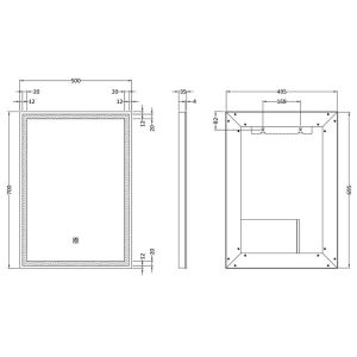 Hudson Reed 700 x 500 LED Mirror Line Dimension