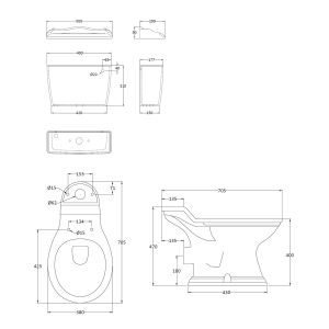 Hudson Reed Chancery Close Coupled Toilet Drawing