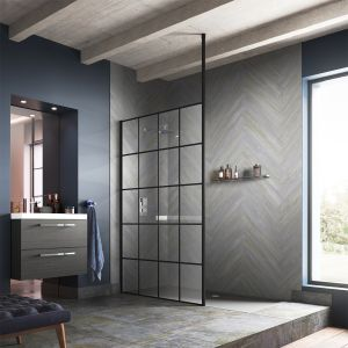 Hudson Reed Framed Black Wet Room Shower Enclosure with Ceiling Post Lifestyle