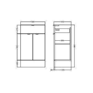 Hudson Reed Fusion Drawer Line Unit 500mm line drawing