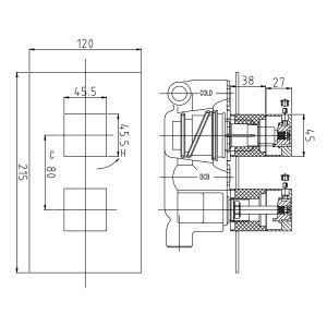 Hudson Reed Lennox Twin Concealed Thermostatic Shower Valve Dimensions