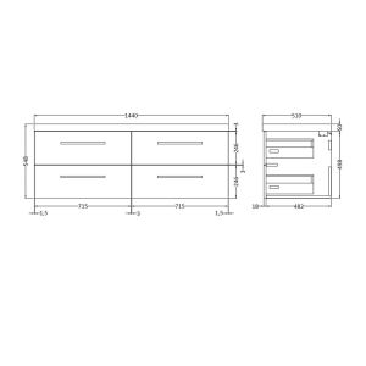 Hudson Reed Quartet Double Vanity Unit 1440mm line drawing