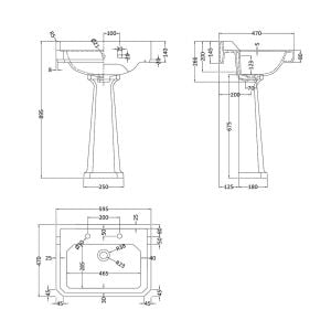 Hudson Reed Richmond 2 Tap Hole Basin with Full Pedestal 600mm Line Drawing