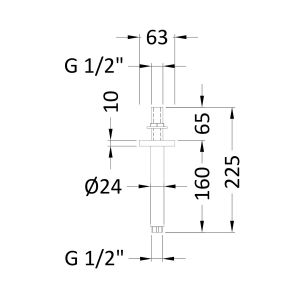Hudson Reed Round Ceiling Mounted Arm 150mm Line Drawing