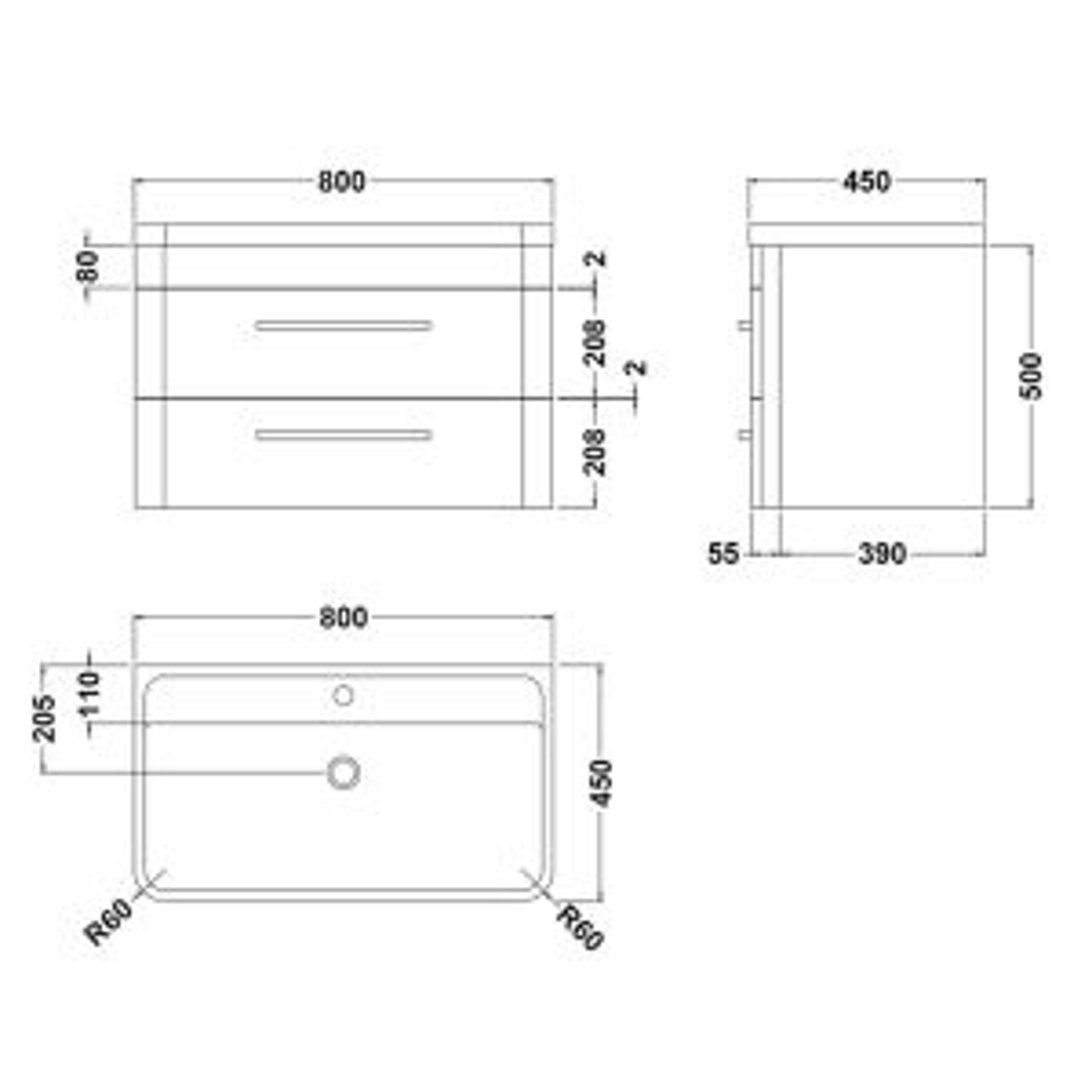 Hudson Reed Solar Vanity Unit Line drawing