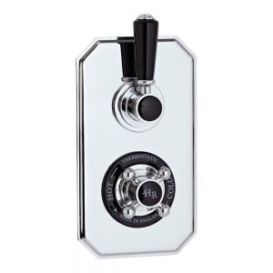 Hudson Reed Topaz Black Twin Thermostatic Shower Valve with Diverter