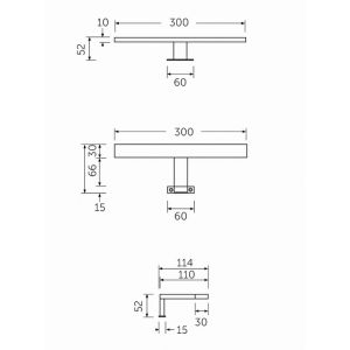 RAK Top Mounted T Bar Mirror Light Measurements