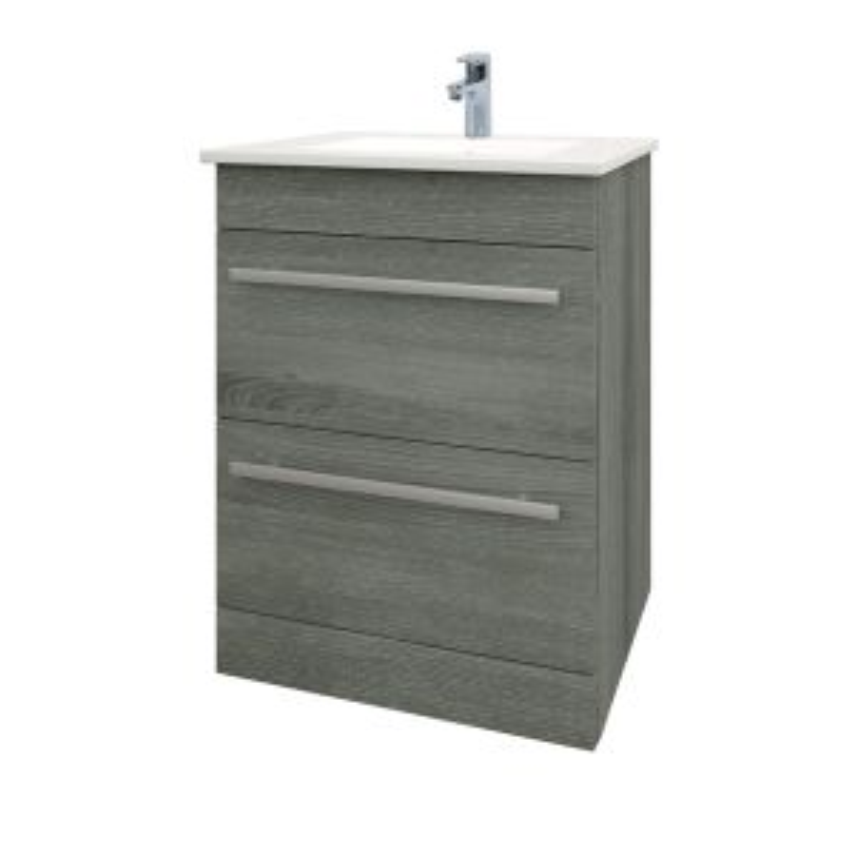 Kartell Purity Grey Ash 2 Drawer Floor Standing Vanity Unit 600mm