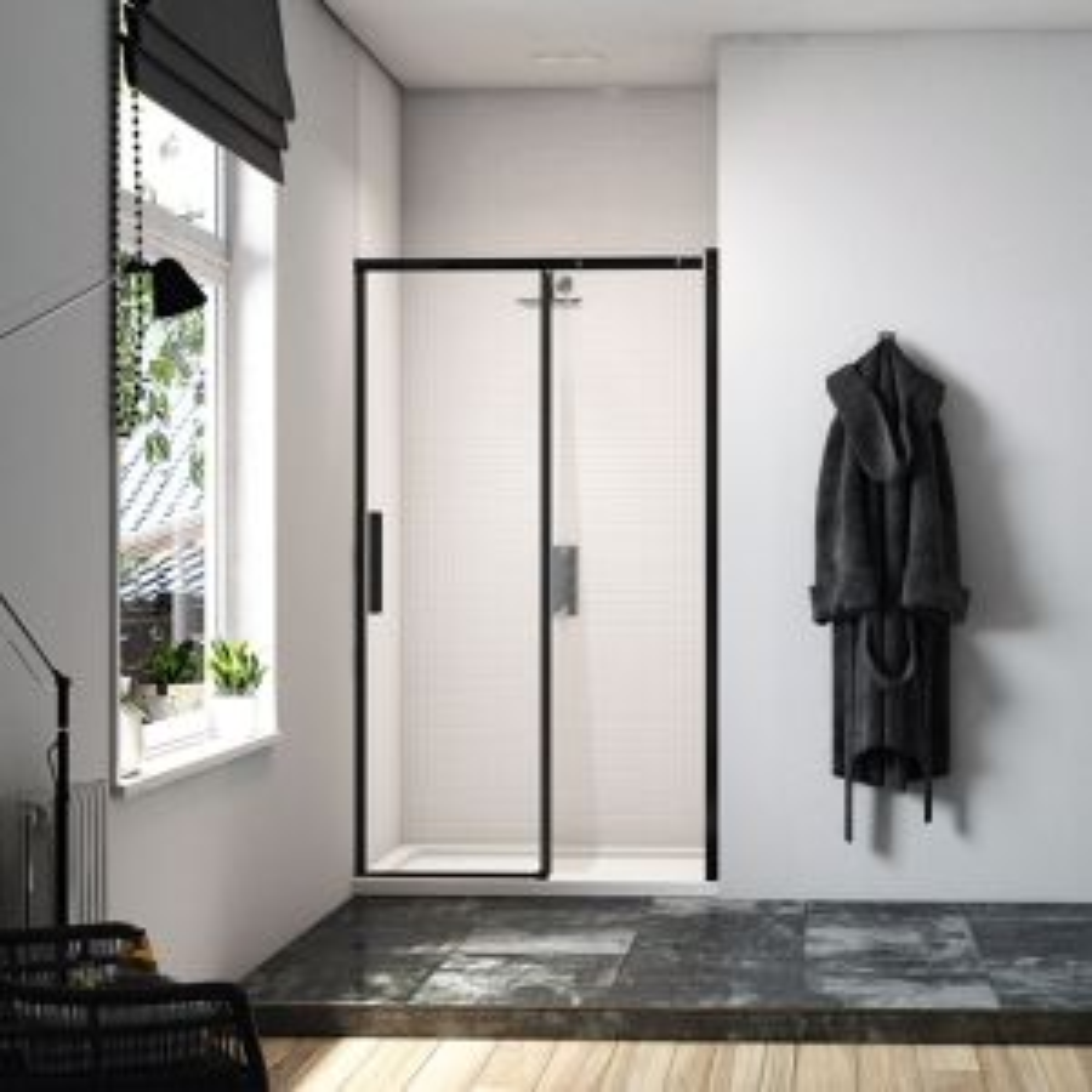 Merlyn Black Sliding Shower Door in an alcove