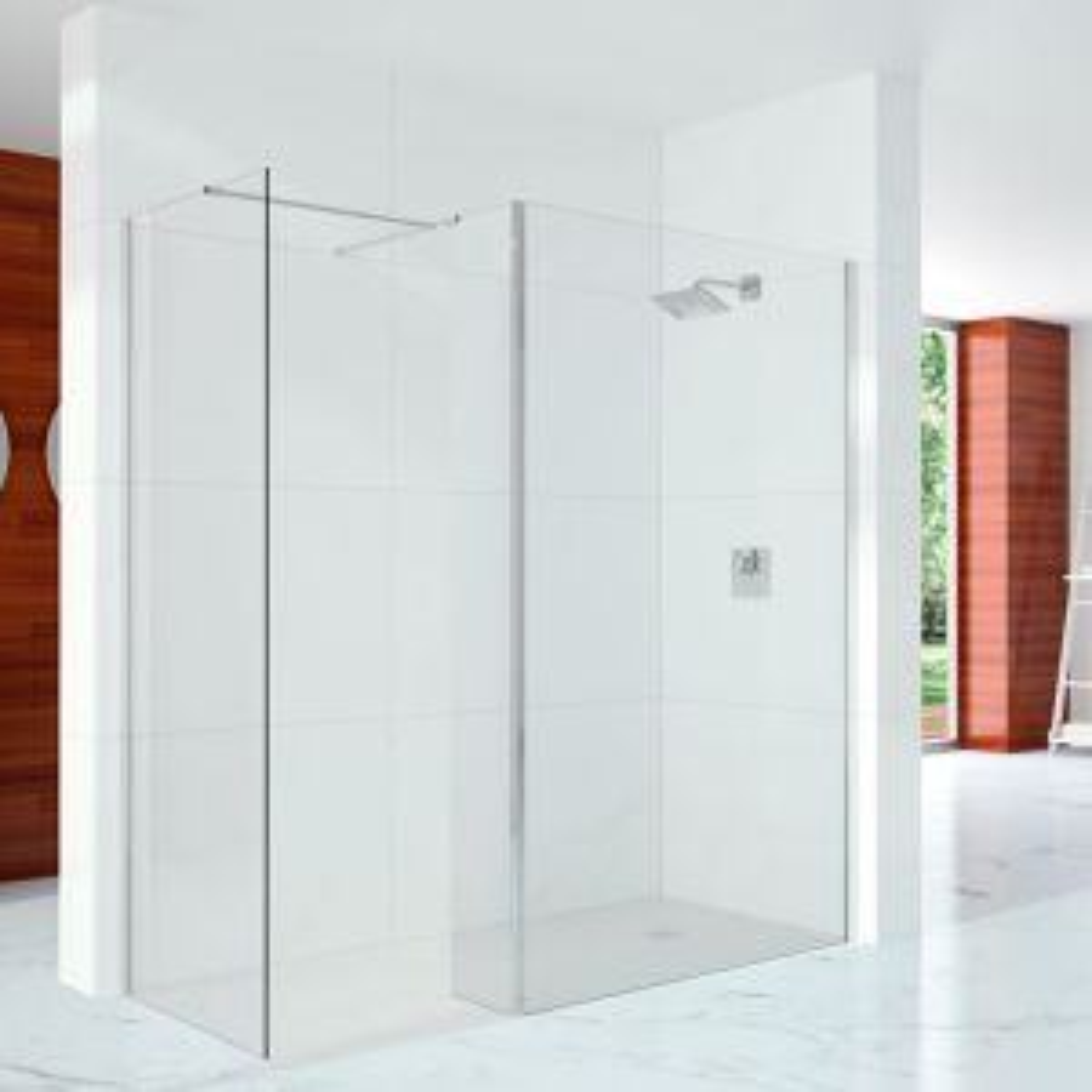 Merlyn Series 10 Showerwall Wetroom with Cube Panel, Side Panel, Stabilising Bar & T Bracket