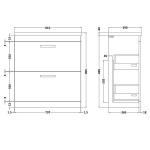 Nuie Athena Gloss Grey 2 Drawer Floor Standing Vanity Unit 800mm with Mid-Edge Basin Dimension