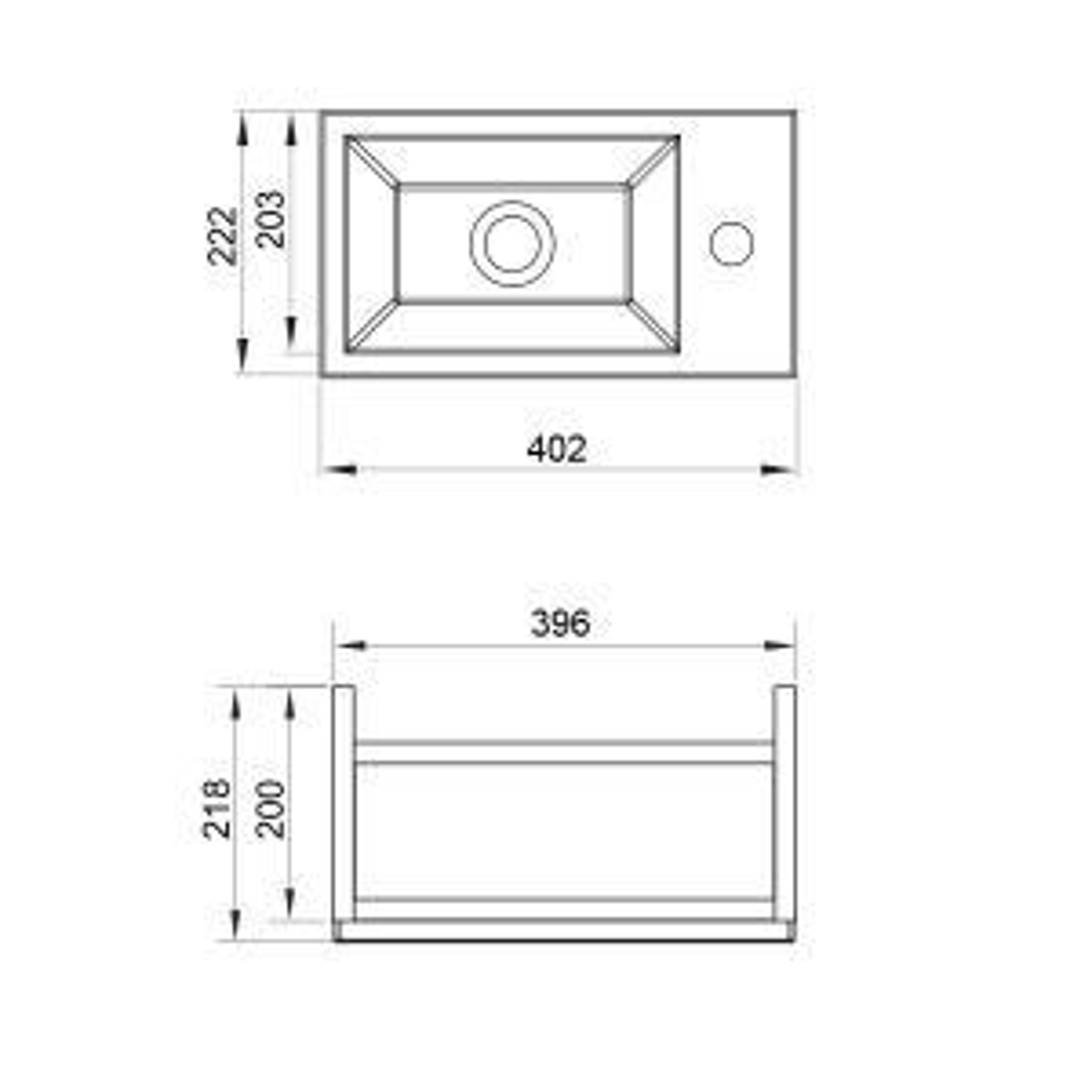 Mito Floor Standing Vanity Unit 400mm Drawing 2