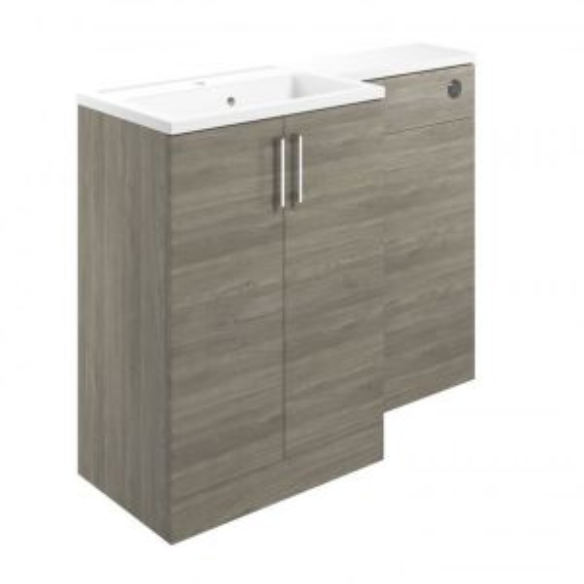 Moods Volta Grey Nordic Wood Left Hand Vanity Unit with Basin 1100mm