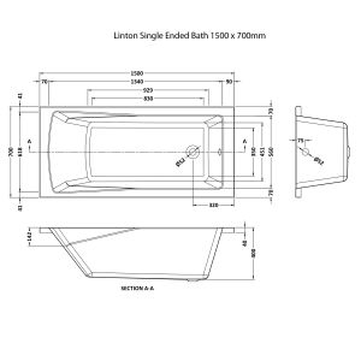 Premier Linton Single Ended Bath 1500 x 700mm