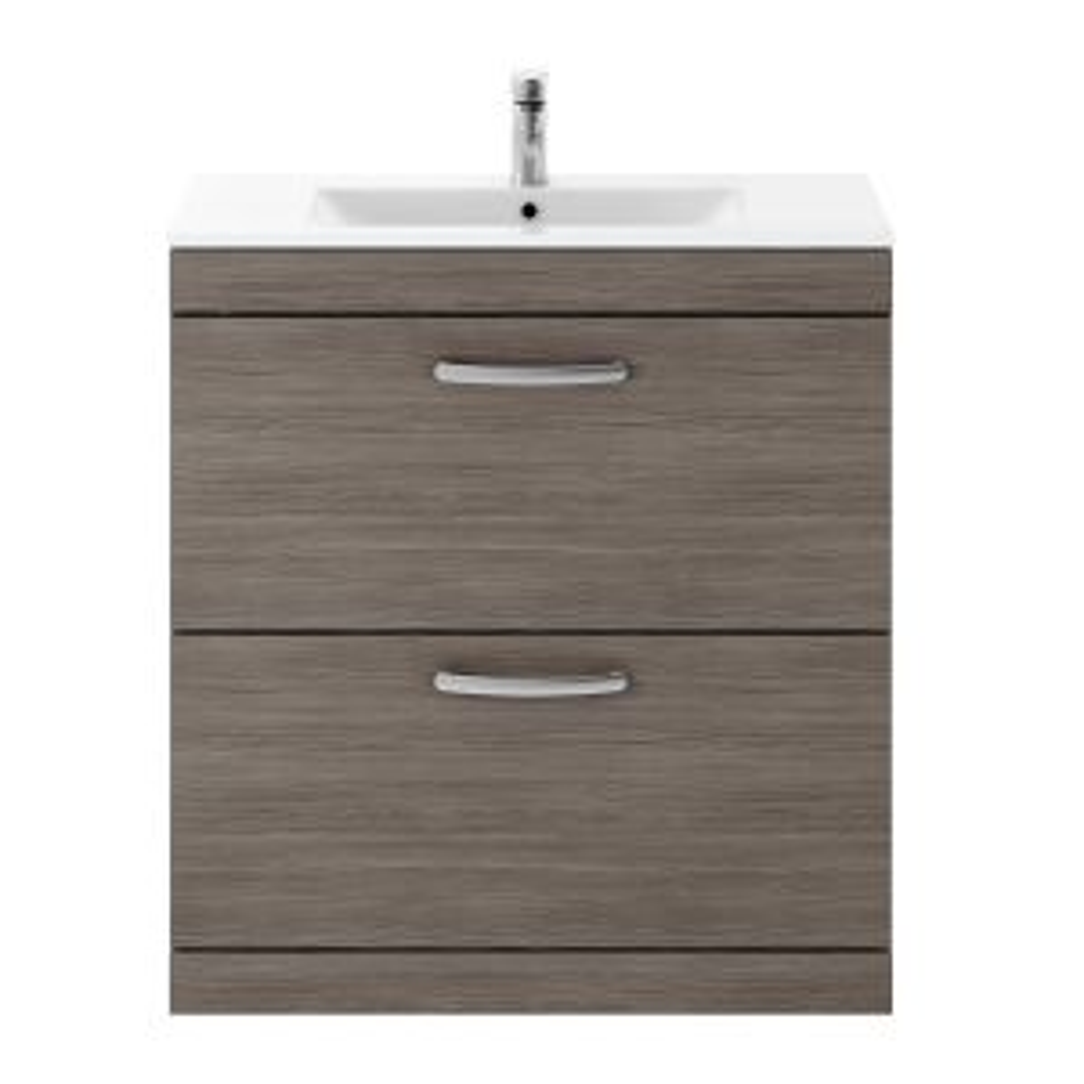 Nuie Athena Grey Avola 2 Drawer Floor Standing Vanity Unit with 18mm Profile Basin 800mm