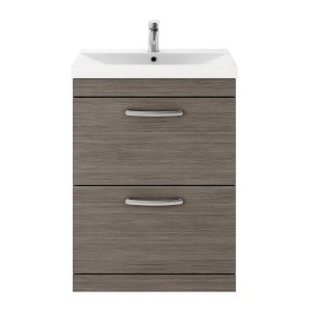 Nuie Athena Grey Avola 2 Drawer Floor Standing Vanity Unit with 50mm Profile Basin 600mm