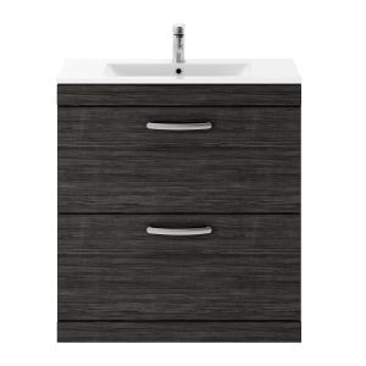 Nuie Athena Hacienda Black 2 Drawer Floor Standing Vanity Unit with 18mm Profile Basin 800mm