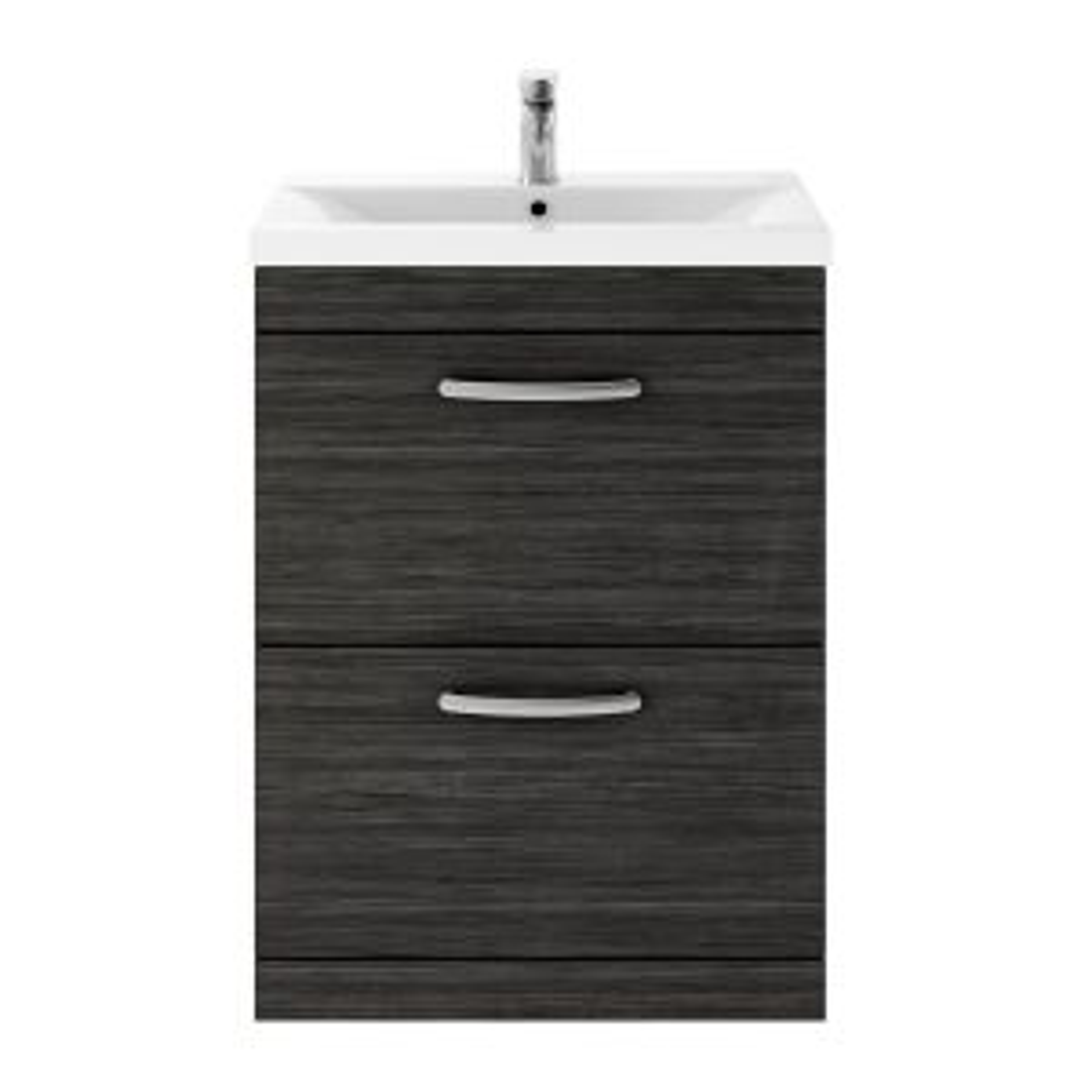 Nuie Athena Hacienda Black 2 Drawer Floor Standing Vanity Unit with 40mm Profile Basin 600mm