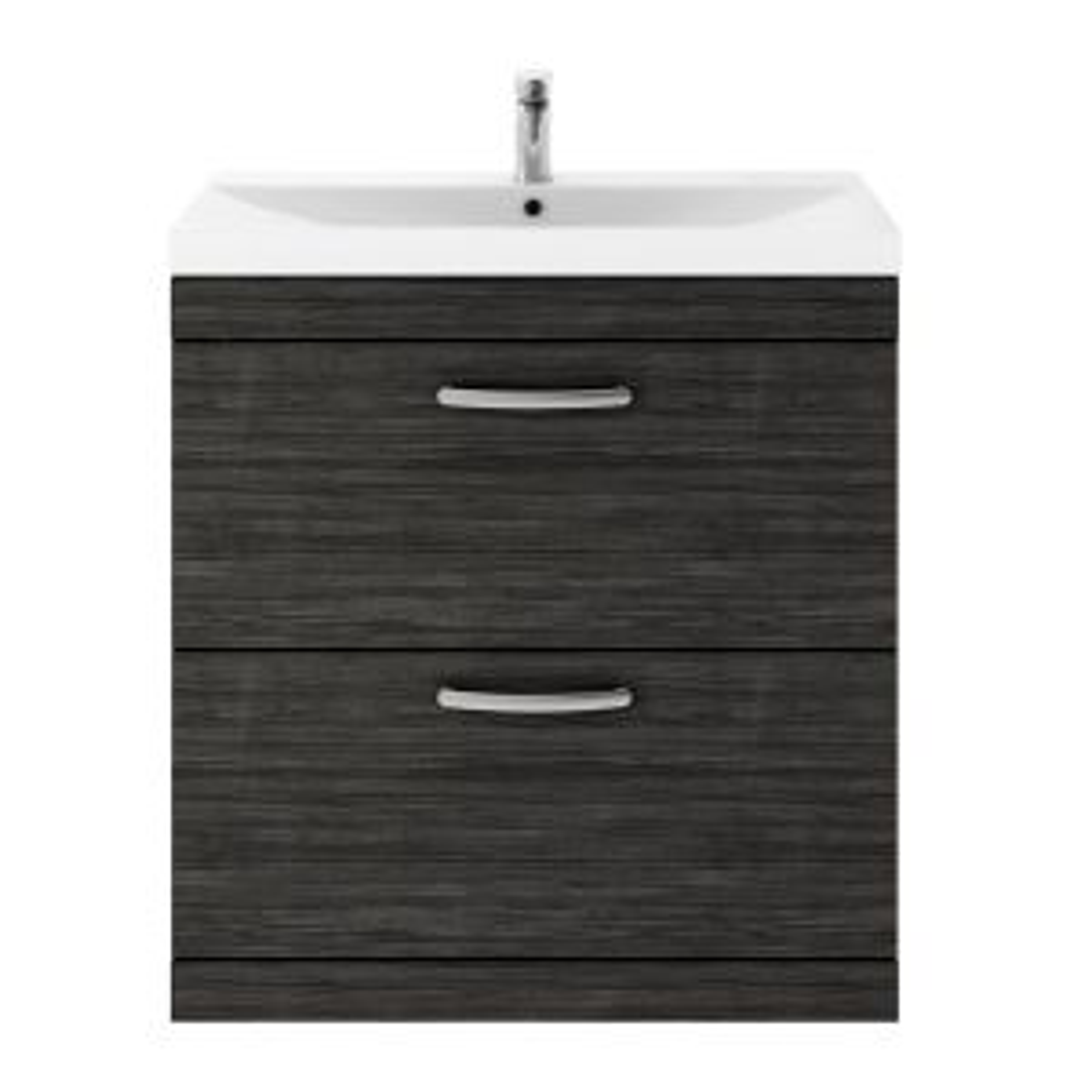 Nuie Athena Hacienda Black 2 Drawer Floor Standing Vanity Unit with 50mm Profile Basin 800mm