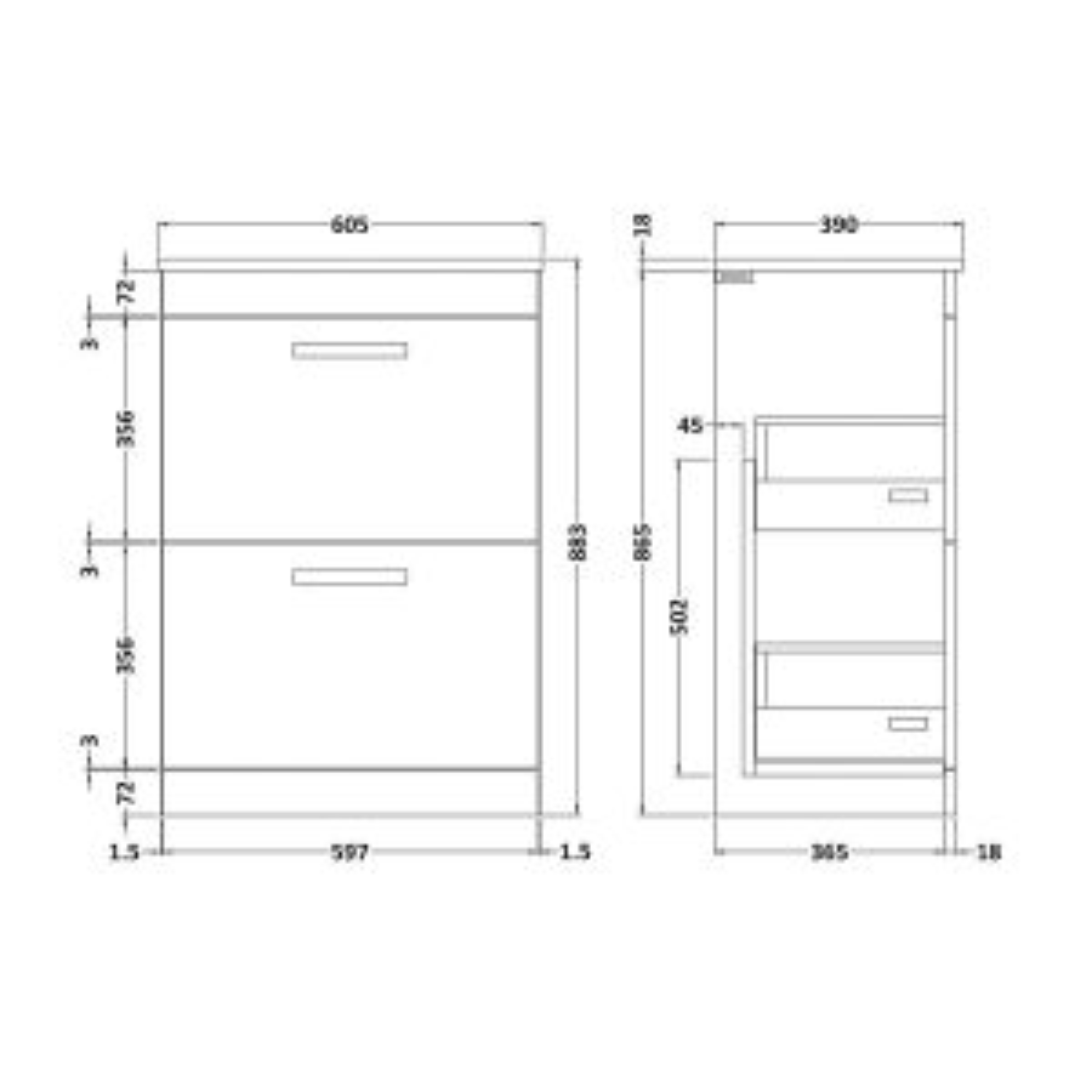 Nuie Athena Hacienda Black 2 Drawer Floor Standing Vanity Unit with 18mm Worktop 600mm Line Drawing