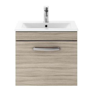 Nuie Athena Driftwood 1 Drawer Wall Hung Vanity Unit with 18mm Profile Basin 500mm