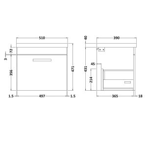 Nuie Athena Driftwood 1 Drawer Wall Hung Vanity Unit with 40mm Profile Basin 500mm Line Drawing