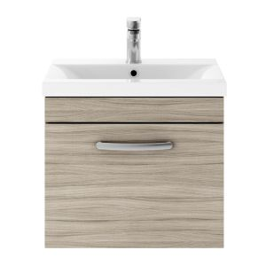Nuie Athena Driftwood 1 Drawer Wall Hung Vanity Unit with 40mm Profile Basin 500mm