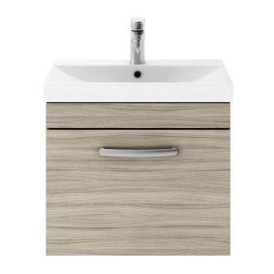 Nuie Athena Driftwood 1 Drawer Wall Hung Vanity Unit with 50mm Profile Basin 500mm
