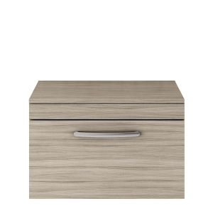 Nuie Athena Driftwood 1 Drawer Wall Hung Vanity Unit with 18mm Worktop 500mm