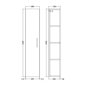 Nuie Athena Driftwood Single Door Tall Unit 300mm Line Drawing