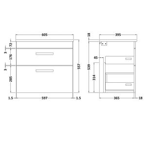 Nuie Athena Gloss Grey Mist 2 Drawer Wall Hung Vanity Unit with 18mm Profile Basin 600mm Line Drawing