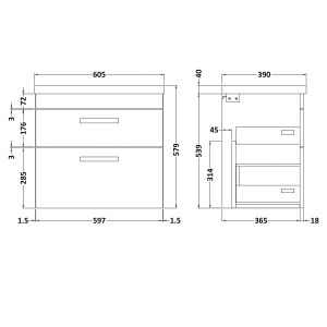 Nuie Athena Gloss Grey Mist 2 Drawer Wall Hung Vanity Unit with 40mm Profile Basin 600mm Line Drawing