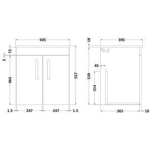 Nuie Athena Stone Grey 2 Door Wall Hung Vanity Unit with 18mm Profile Basin 500mm Line Drawing