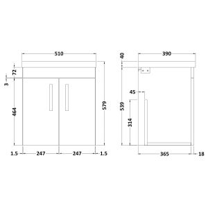 Nuie Athena Stone Grey 2 Door Wall Hung Vanity Unit with 40mm Profile Basin 500mm Line Drawing