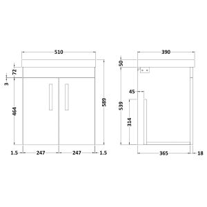 Nuie Athena Stone Grey 2 Door Wall Hung Vanity Unit with 50mm Profile Basin 500mm Line Drawing