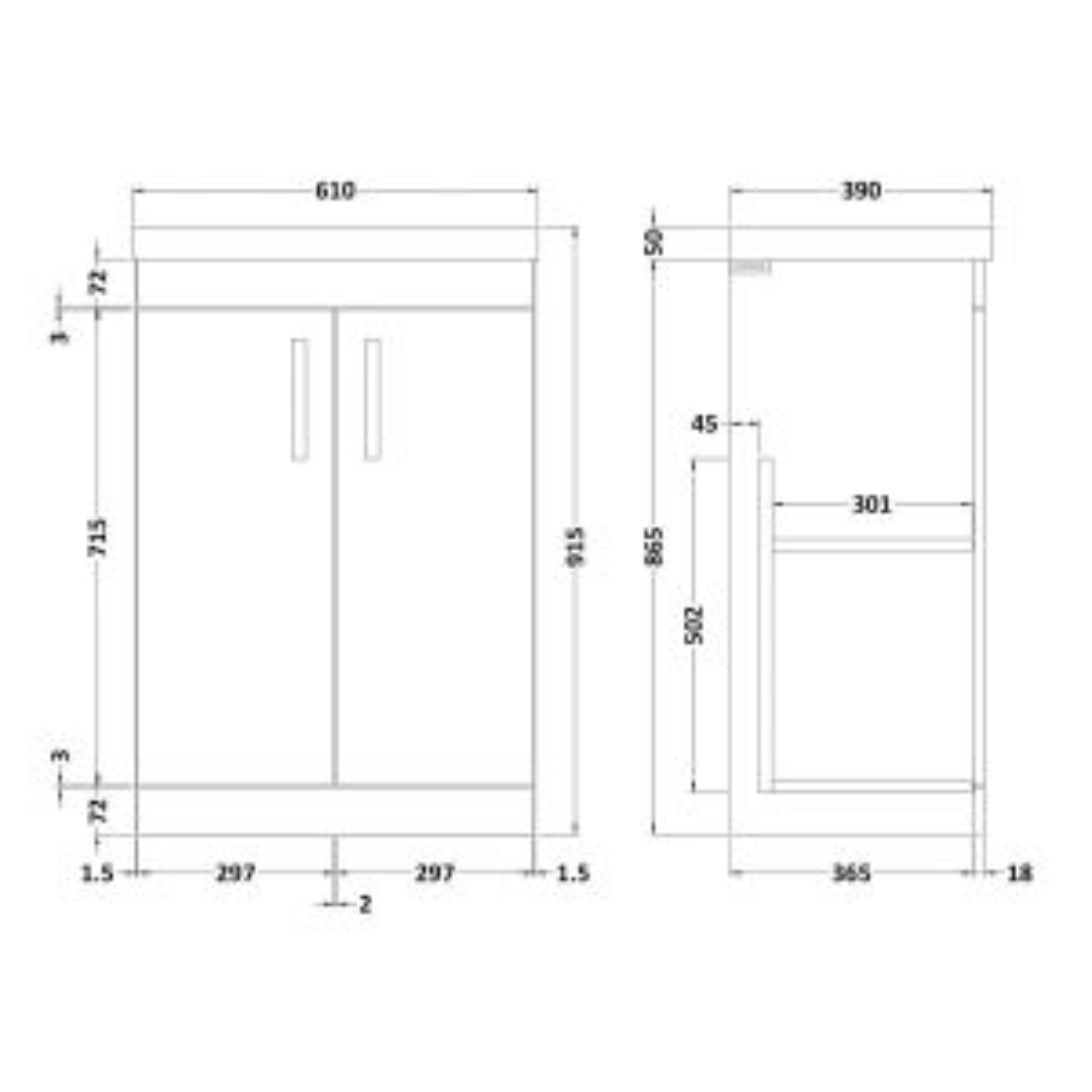 Nuie Athena Gloss Grey Mist 2 Door Floor Standing Vanity Unit with 50mm Profile Basin 600mm Line Drawing