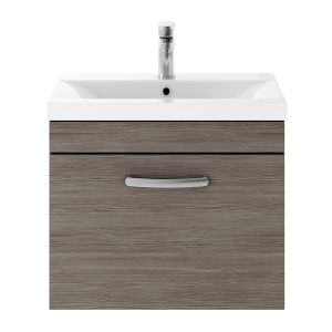 Nuie Athena Grey Avola 1 Drawer Wall Hung Vanity Unit with 40mm Profile Basin 600mm