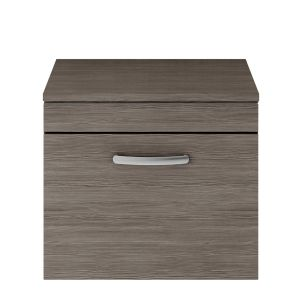 Nuie Athena Grey Avola 1 Drawer Wall Hung Vanity Unit with 18mm Worktop 600mm