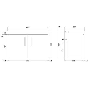 Nuie Athena Grey Avola 2 Door Wall Hung Vanity Unit with 18mm Profile Basin 800mm Line Drawing
