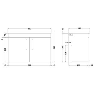 Nuie Athena Grey Avola 2 Door Wall Hung Vanity Unit with 40mm Profile Basin 800mm Line Drawing