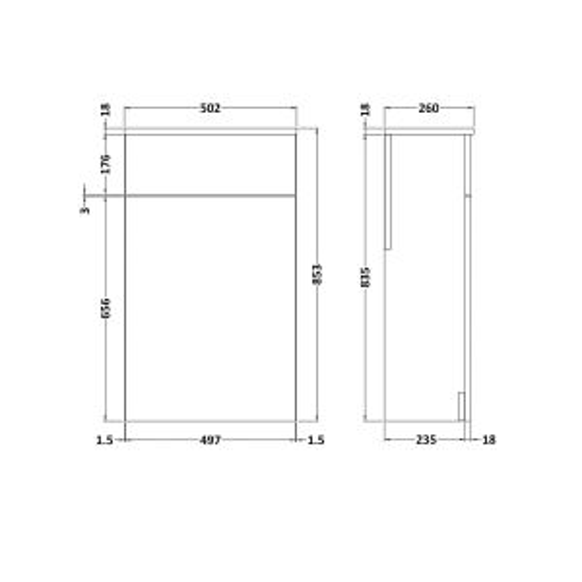 Nuie Athena Hacienda Black Toilet WC Unit 500mm Line Drawing