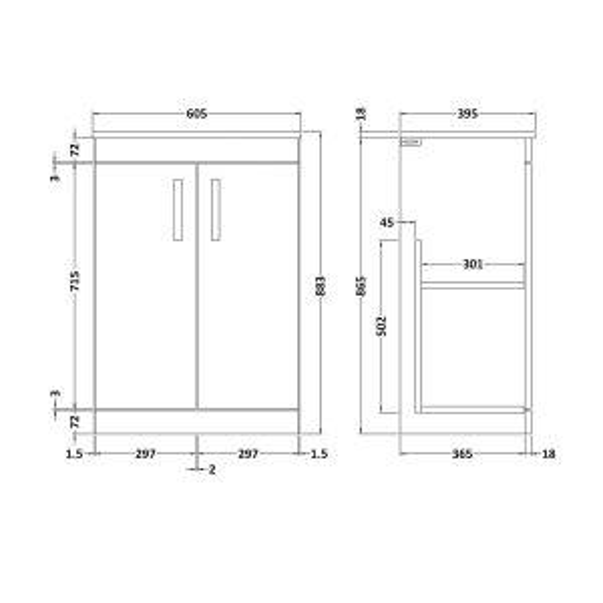 Nuie Athena Gloss Grey Mist 2 Door Floor Standing Vanity Unit with 18mm Profile Basin 600mm Line Drawing