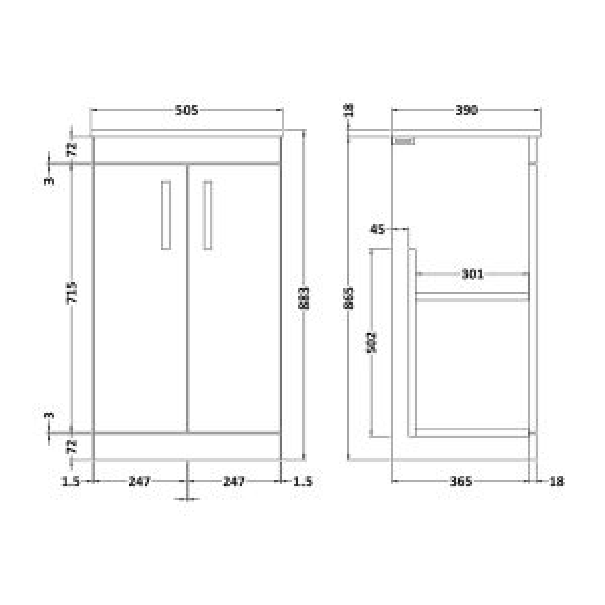 Nuie Athena Gloss Grey Mist 2 Door Floor Standing Vanity Unit with 18mm Worktop 500mm Line Drawing