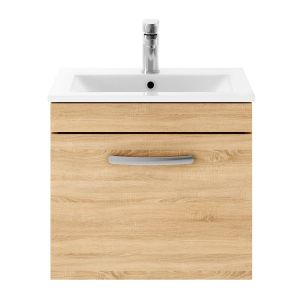 Nuie Athena Natural Oak 1 Drawer Wall Hung Vanity Unit with 18mm Profile Basin 500mm