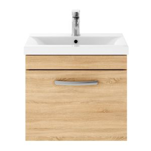 Nuie Athena Natural Oak 1 Drawer Wall Hung Vanity Unit with 40mm Profile Basin 500mm