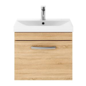 Nuie Athena Natural Oak 1 Drawer Wall Hung Vanity Unit with 50mm Profile Basin 500mm