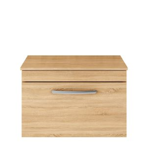 Nuie Athena Natural Oak 1 Drawer Wall Hung Vanity Unit with 18mm Worktop 500mm
