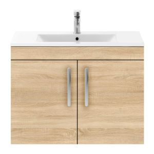 Nuie Athena Natural Oak 2 Door Wall Hung Vanity Unit with 18mm Profile Basin 800mm