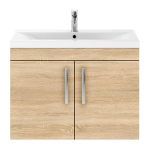 Nuie Athena Natural Oak 2 Door Wall Hung Vanity Unit with 40mm Profile Basin 800mm
