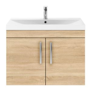 Nuie Athena Natural Oak 2 Door Wall Hung Vanity Unit with 50mm Profile Basin 800mm